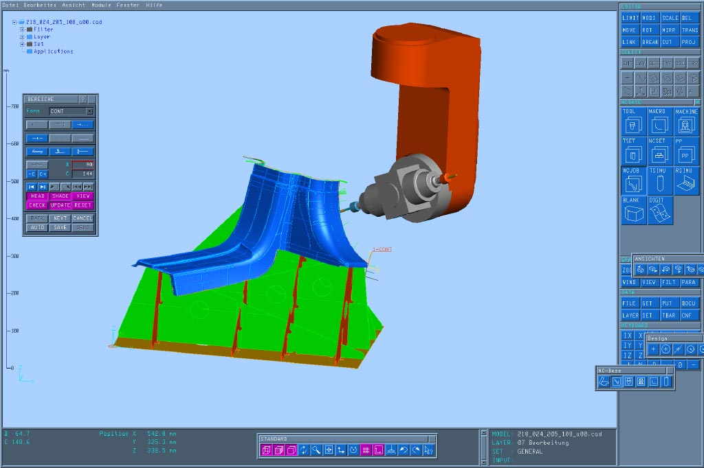Data transfer for the 3D 5-axis milling