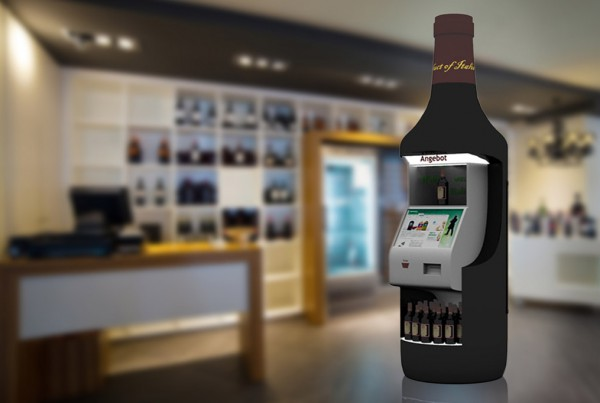 Wine bottle factice with interactive element for wine advice